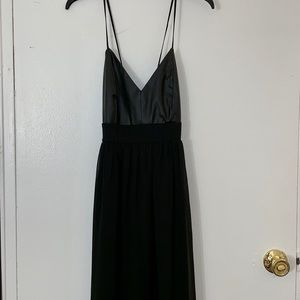 Pleather/Chiffon like material Maxi Dress